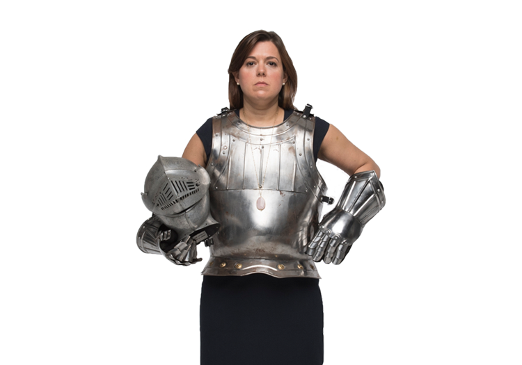 Woman dressed as knight