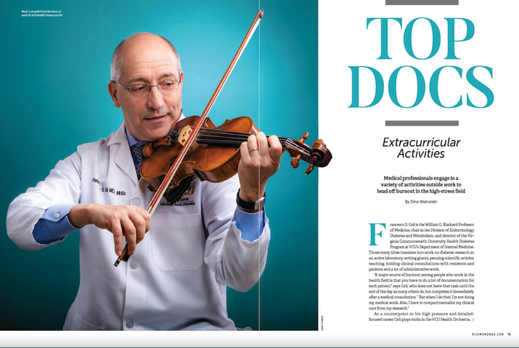 "Richmond Magazine annual list of ""Top Docs"" with photo of doctor playing the violin"
