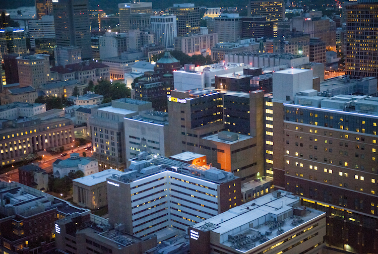 VCU Health MCV Campus at night