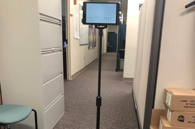 Computer tablet mounted on a pole
