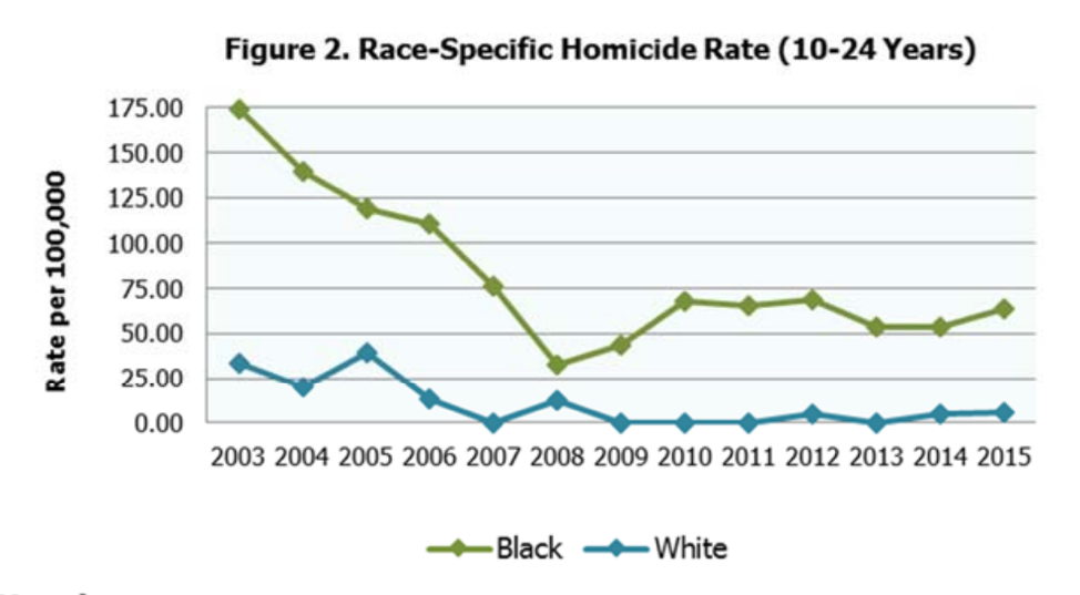 Race specific homicide rate (10-24 years)