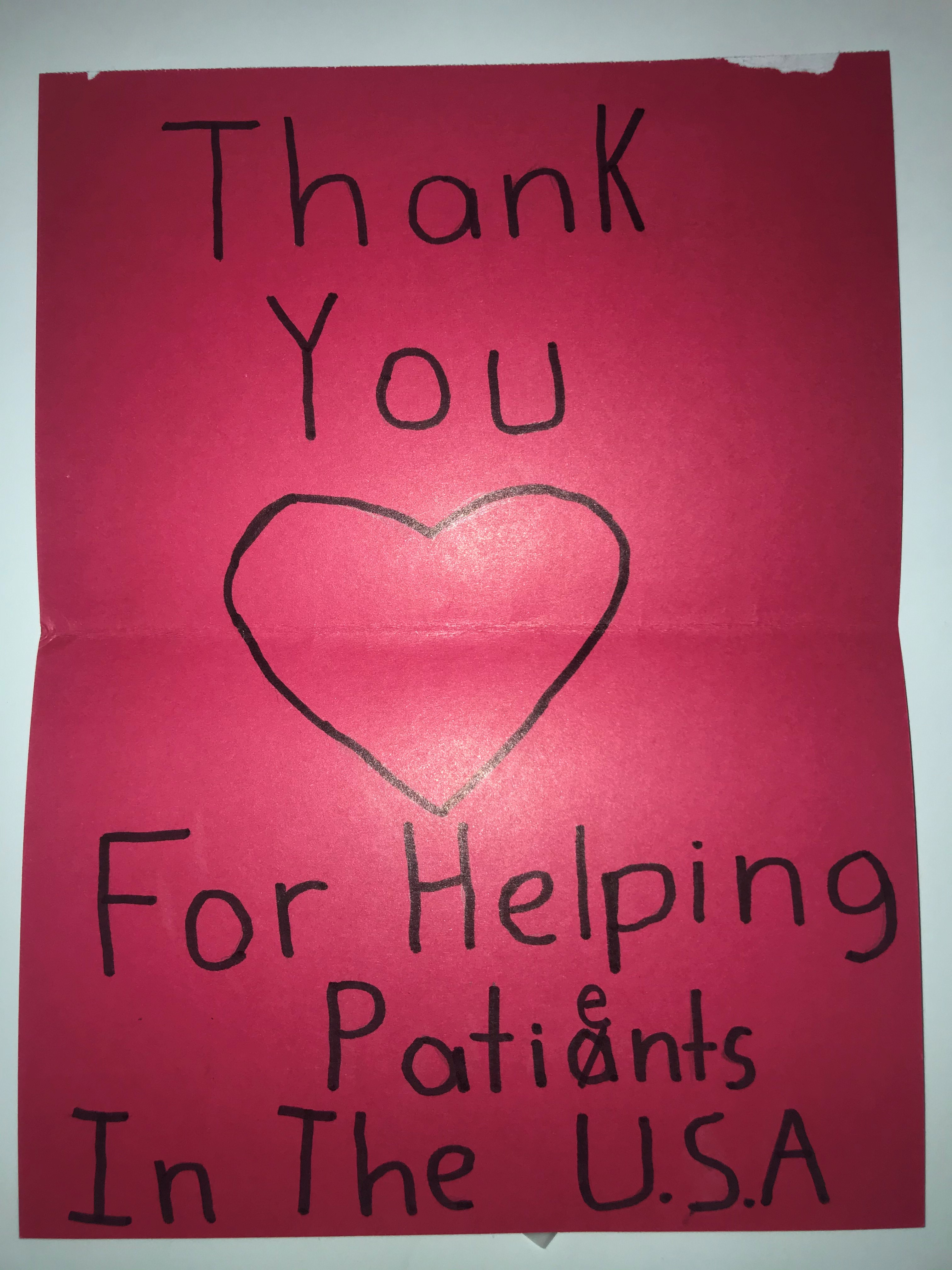 Thank you for helping patients in the U.S.A.