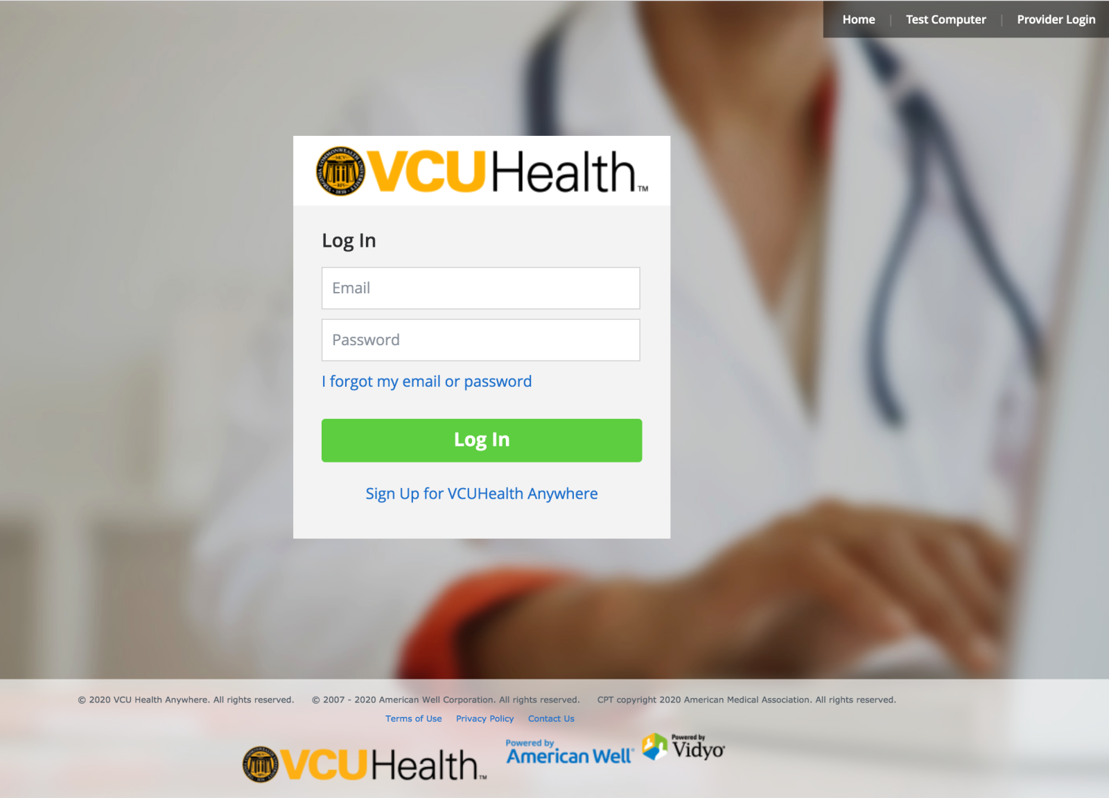 Log In Screen for VCU Health Anywhere app desktop version