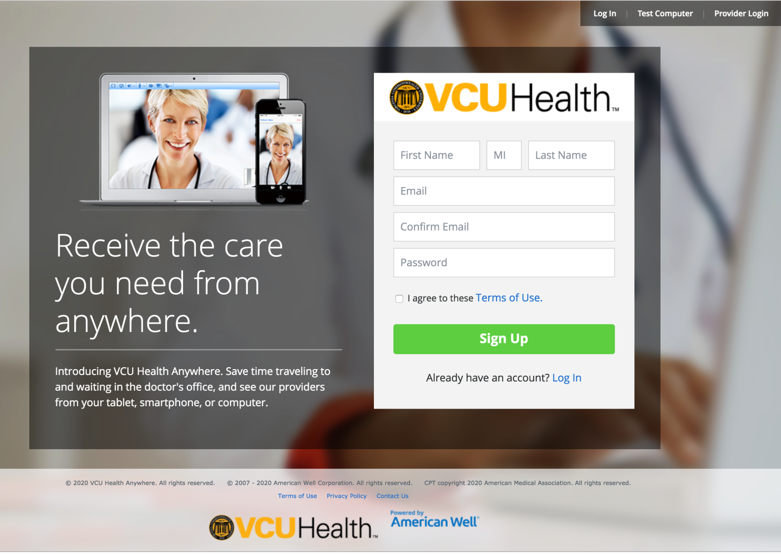 Sign Up screen for VCU Health Anywhere app desktop version