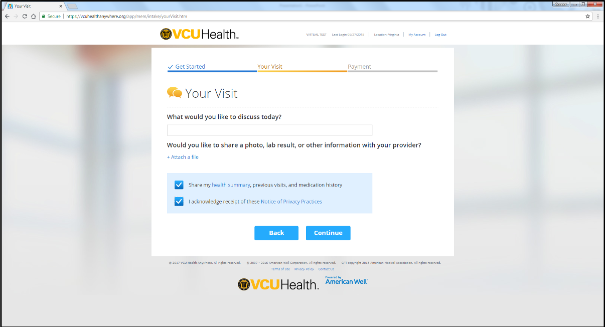 Your Visit screen from VCU Health Anywhere app desktop version